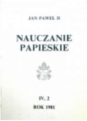 Nauczanie papieskie 1981. Tom IV/2 - okładka książki