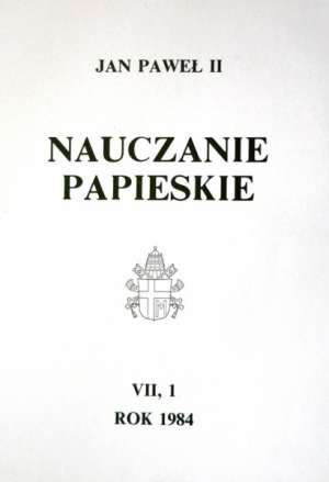 Nauczanie papieskie 1984. Tom VII/1 - okładka książki