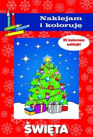 Święta. Naklejam i koloruję - okładka książki