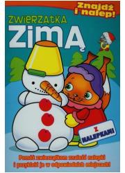 Zwierzątka zimą. Znajdź i nalep - okładka książki