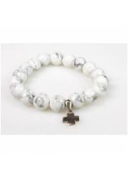 Howlit biały & srebrny krzyżyk - zdjęcie dewocjonaliów