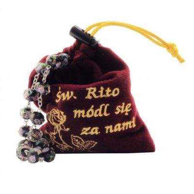 Różaniec św. Rity ze szkła weneckiego - zdjęcie dewocjonaliów