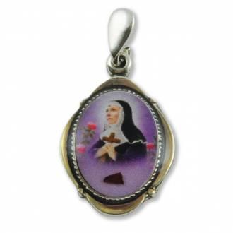 Srebrny medalik św. Rity z pobłogosławioną - zdjęcie dewocjonaliów