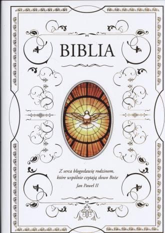 Biblia (biała, z Duchem Świętym) - okładka książki