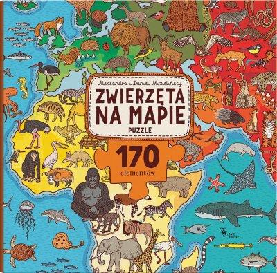 Puzzle. Zwierzęta na mapie - zdjęcie zabawki, gry