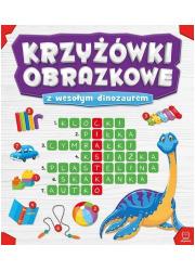 Krzyżówki obrazkowe z wesołym dinozaurem - okładka książki