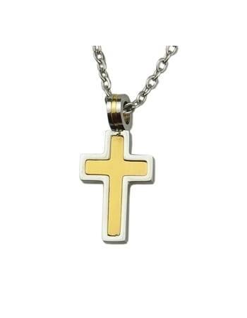 Krzyż w kolorach złota i srebra - zdjęcie dewocjonaliów