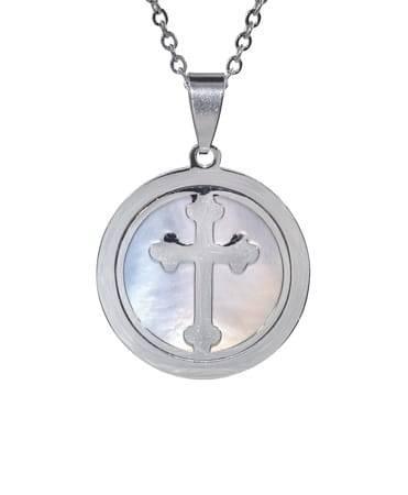 Krzyż w masie perłowej z łańcuszkiem - zdjęcie dewocjonaliów